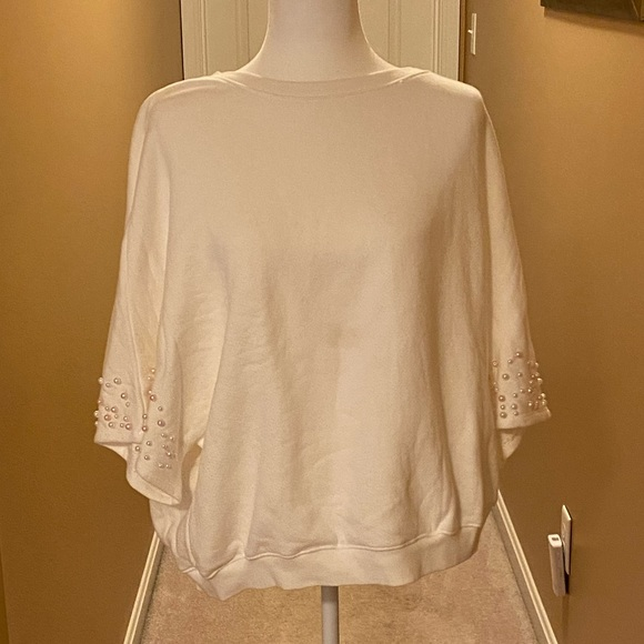 Anthropologie Tops - ANTHROPOLIGIE DOLMAN SLEEVE PEARL SWEATSHIRT XL